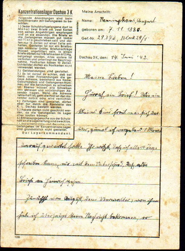 Brief aus dem KZ Dachau von August Benninghaus an seine Familie